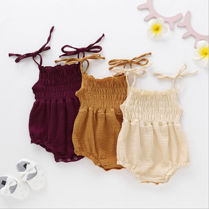 Newborn Linen Newborn Baby Girl Romper Bodysuit Ruffle Bowknot One-Piece Jumpsuit Outfit Clothes Summer
