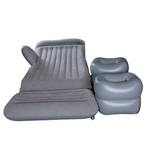 LC Flocked PVC Portable Car Back Seat Travel Bed Car Bed Mattress Travel Car Air Mattress with Two Pillows