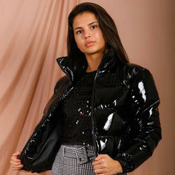 Winter Patent Leather Bubble Coat Women Plus Size Red Zipper