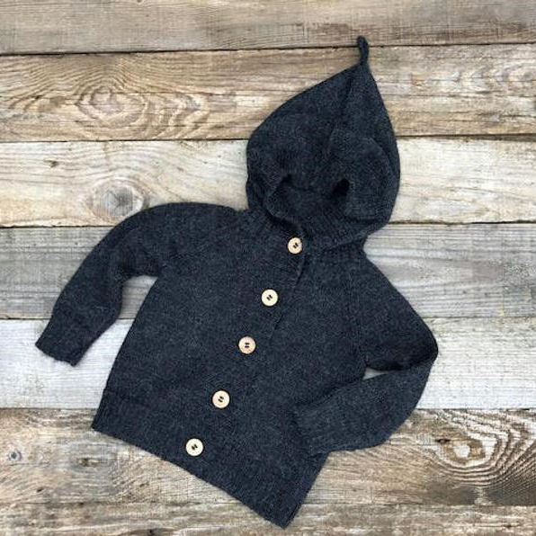 Navy Hooded Sweater Baby Alpaca Wool Cardigan Knit Gray Beige Natural White Coat Infant Toddler kids Jacket Unisex
