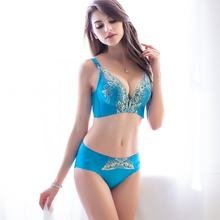High Quality New Fashion Small Chest Embroidery Women Underwear push up Bra and Panty Set