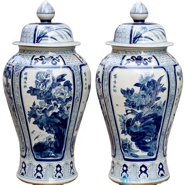 RYWY13-A Pair of shengjiang hand painted blue and white ceramic floor ginger jar