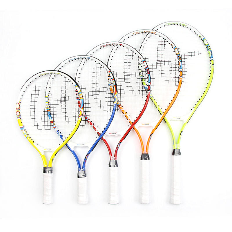Factory wholesale OEM kids aluminum junior tennis racket for practice and training skill size 17 19 21 23 25 inch available