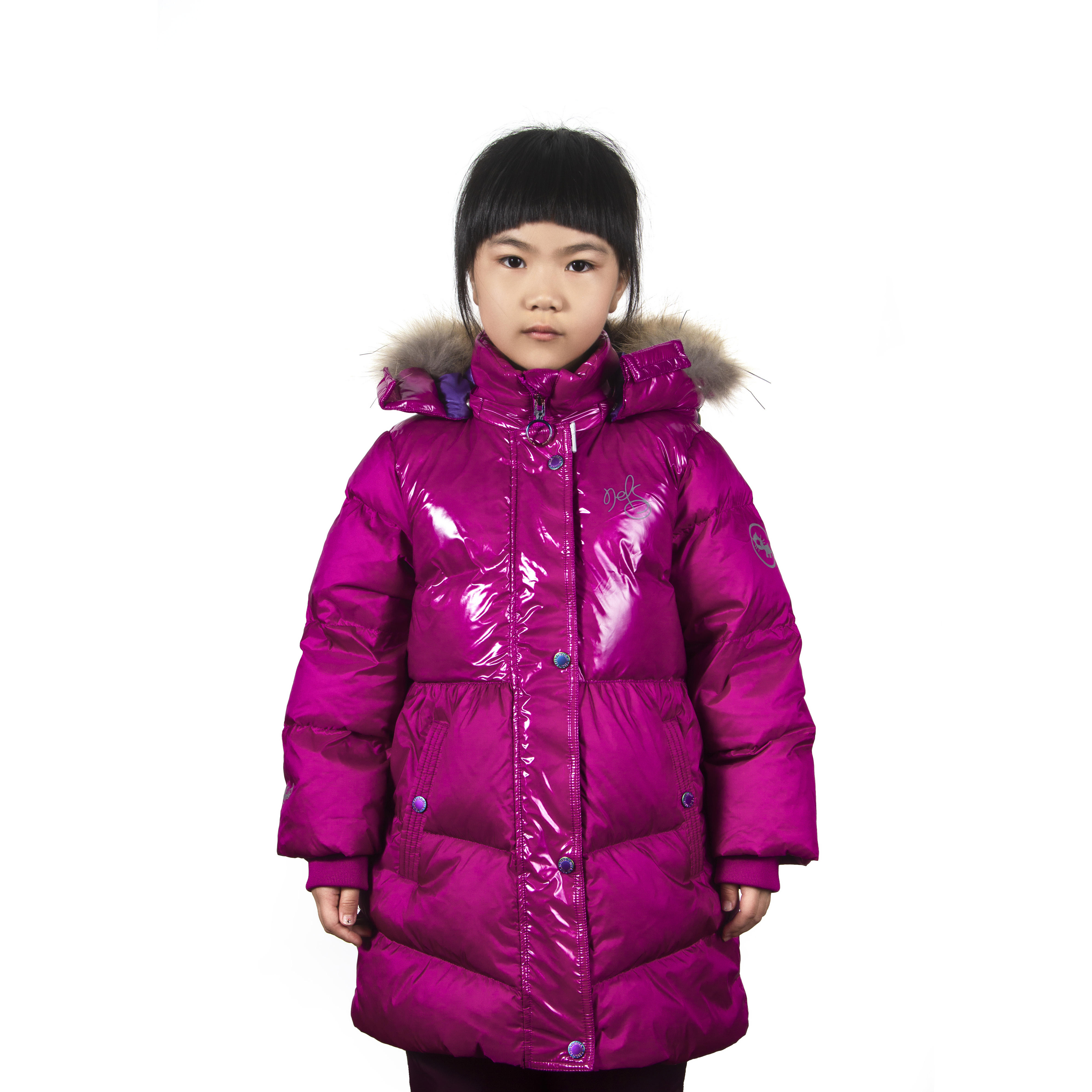 Jianfeng Stylish Winter Outdoor Customized Original Fur Collar Long Style Kids Down Hoodie Jacket With Zipper