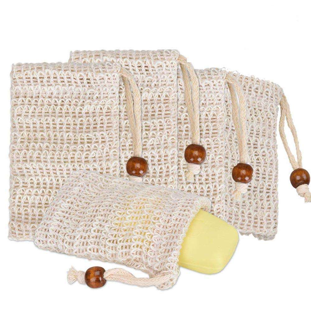 Ready to Ship Wholesale Exfoliating Bamboo Cotton Jute Foam Sisal Soap Bag