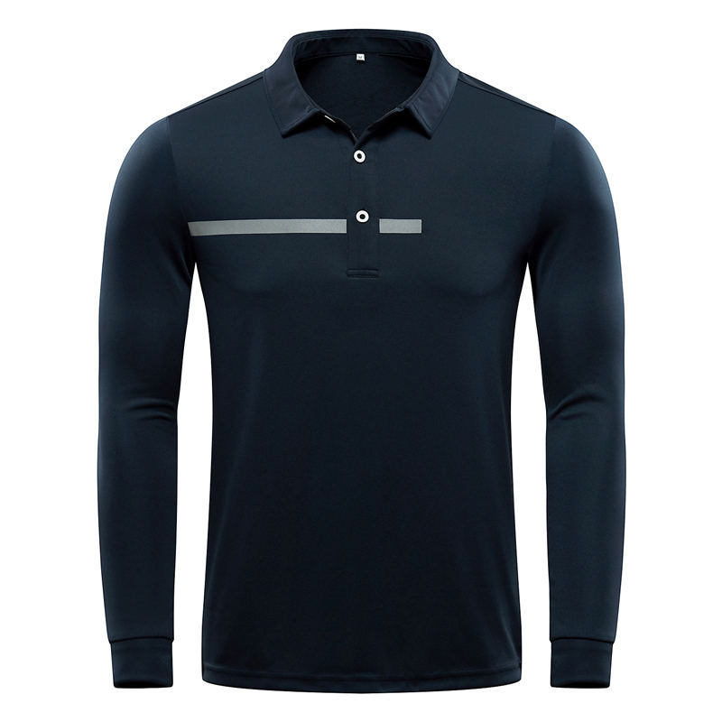 custom men's embroidered polyester spandex long sleeve golf shirt