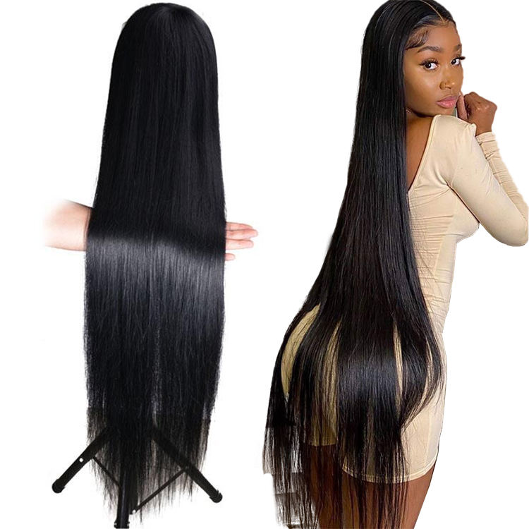 30 32 34 36 38 40 50inch HD/transparent lace human hair wig, nature cuticle aligned 13x6 long straight Lace Front Wigs