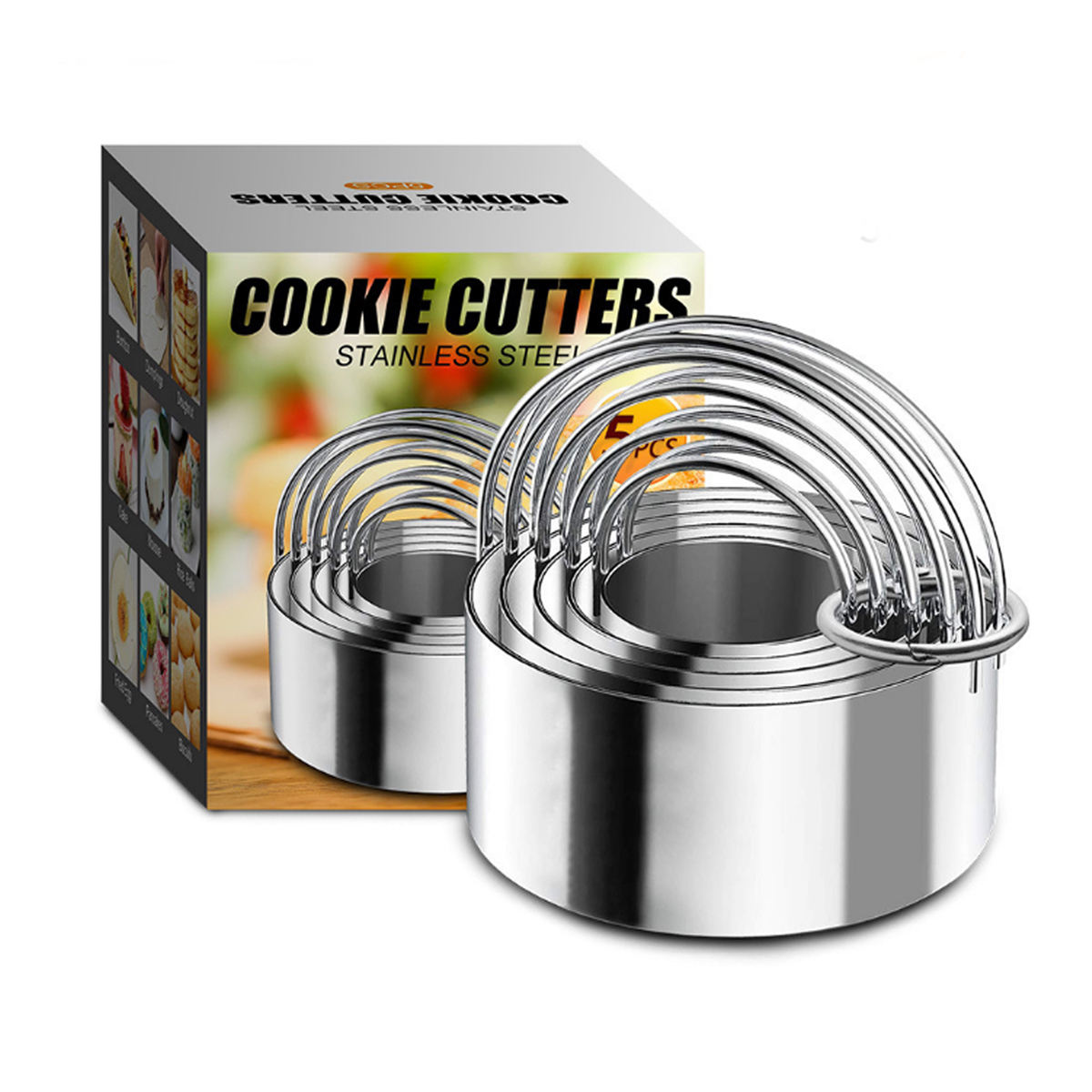5 Pieces Round Shape in Graduated size 304 stainless steel Cookie Cutters Biscuit Plain Edge Fondant Cutters