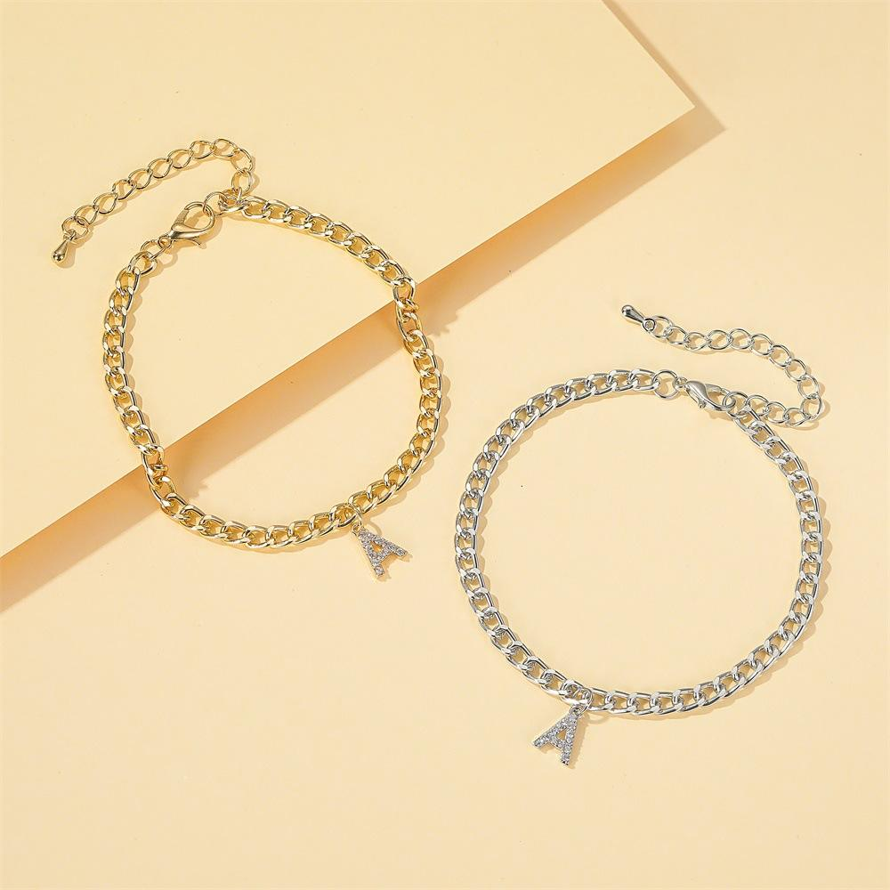 All-Match Shiny Capital A Anklet Female Diamond Fine Beauty Foot English Letter Jewelry