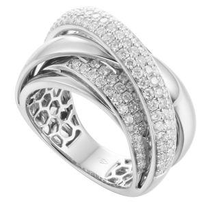 Jewelry Delicate Classic Party 18K White Gold Diamond Ribbon Ring For Women