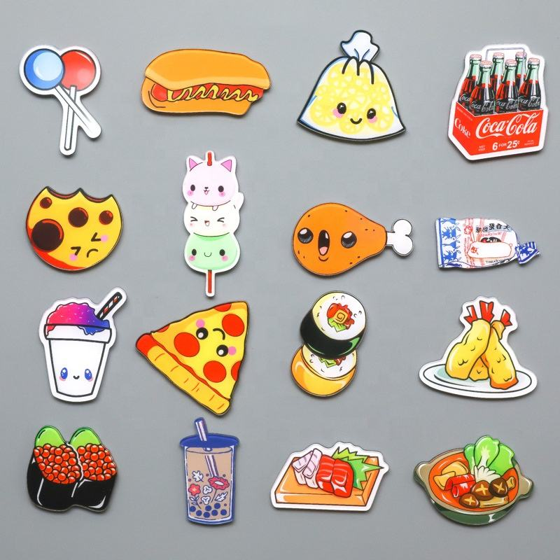 Custom Design Cute Cartoon Food Shape Acrylic Fridge Magnet
