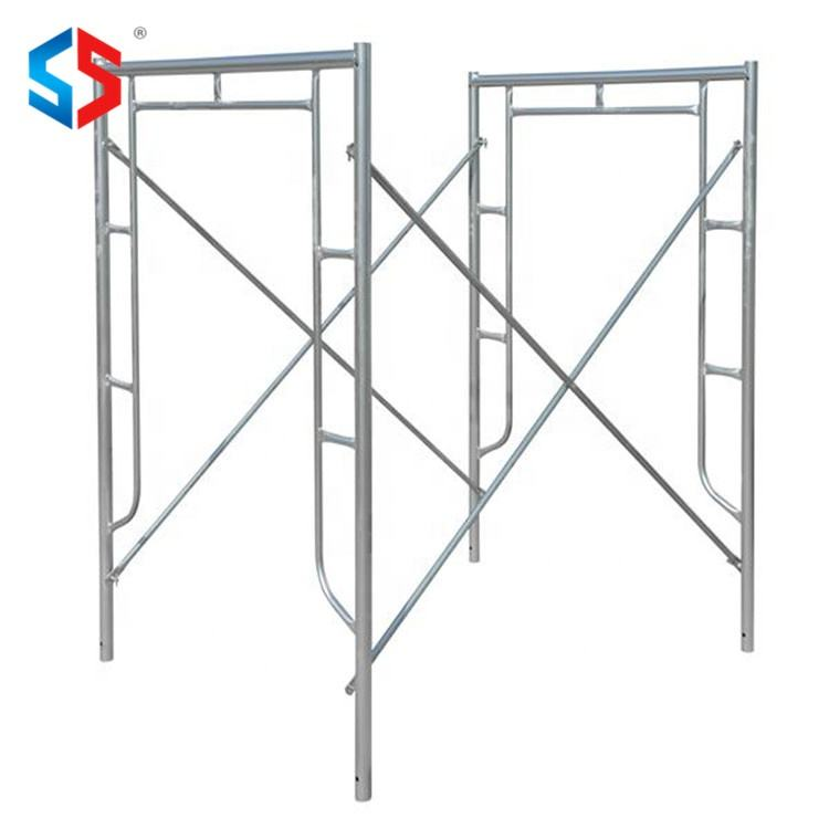 Tianjin SS design 1.5mm-3mm thickness galvanized q235 steel metal walk through a door movable scaffolding frame
