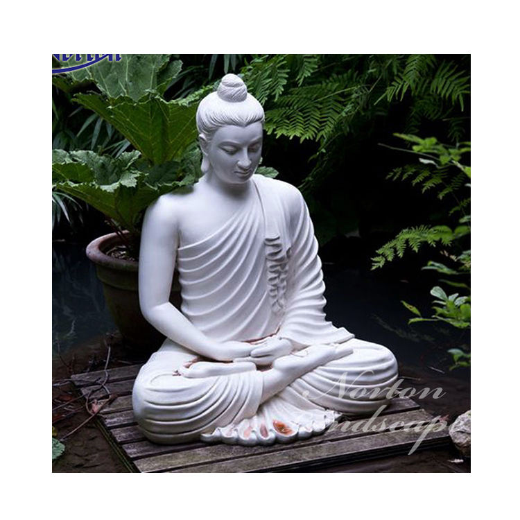 Garden decoration stone carving sculpture life size Meditating white marble sitting buddha statue for sale