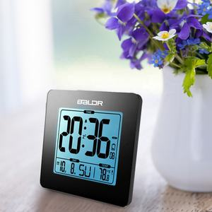 BALDR B0114 Digital Desk Clock Thermometer Table Clock with Blue Backlight Portable Calendar Indoor Temperature Alarm Clock
