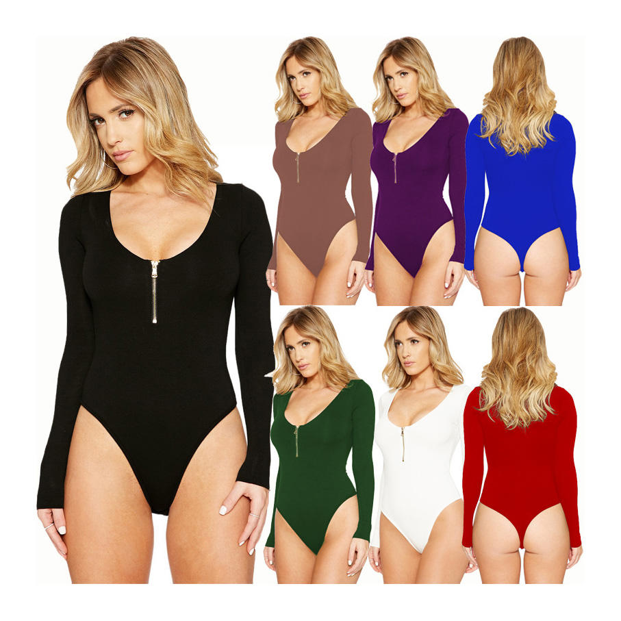W0342 High Waist High Cut Long Sleeve Sexy Bodysuit Zipper Skinny Leotard O Neck Body Top Women Rompers