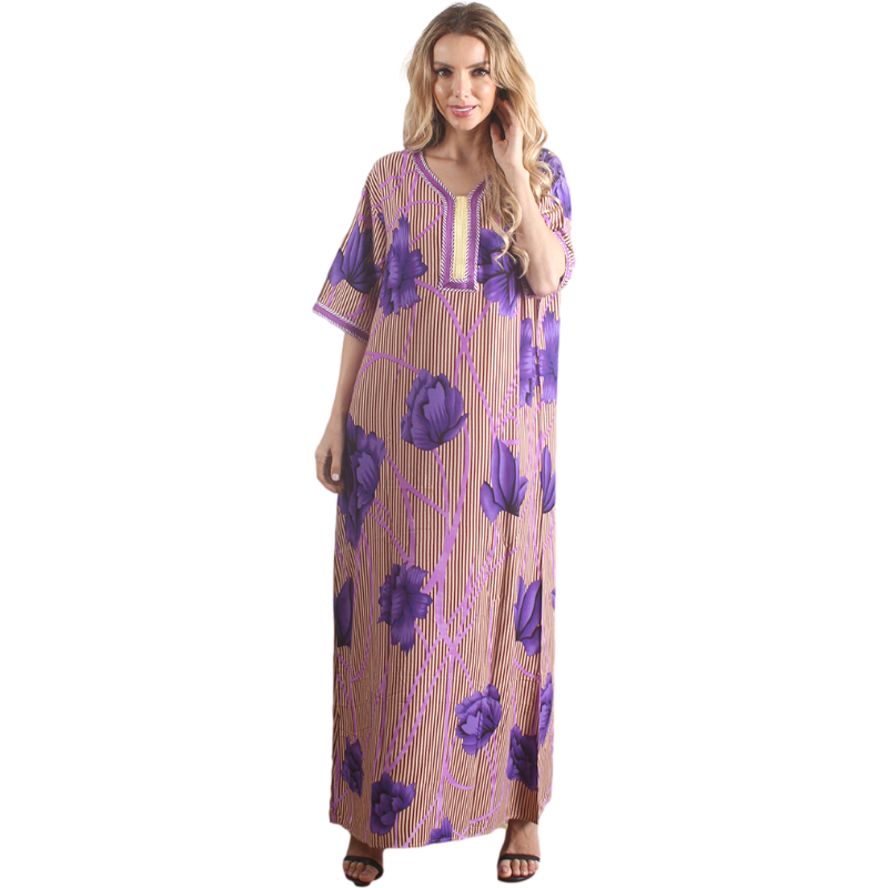 wholesale Summer Purple Floral Printed Khamis Arab islamic Clothing Thobe for Women