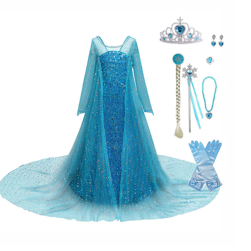 Hot Product 2020 Princess Fancy Cosplay Paty Elsa Dress Cosplay Costume In Frozen