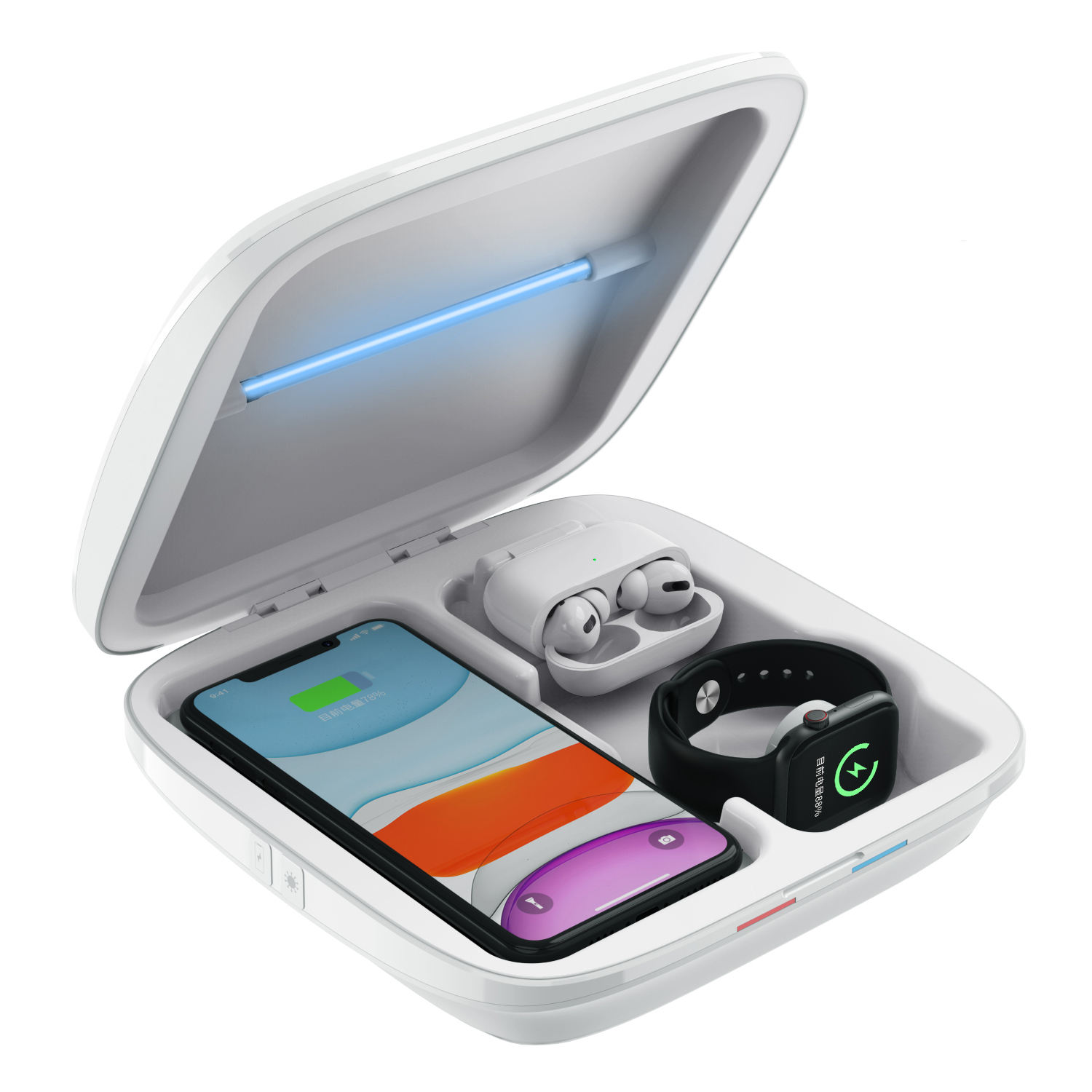 4 in 1 Multi Purpose Mobile Phone Fast Wireless Charging UV Light Sterilizing Box for iPhone Airpods iWatch