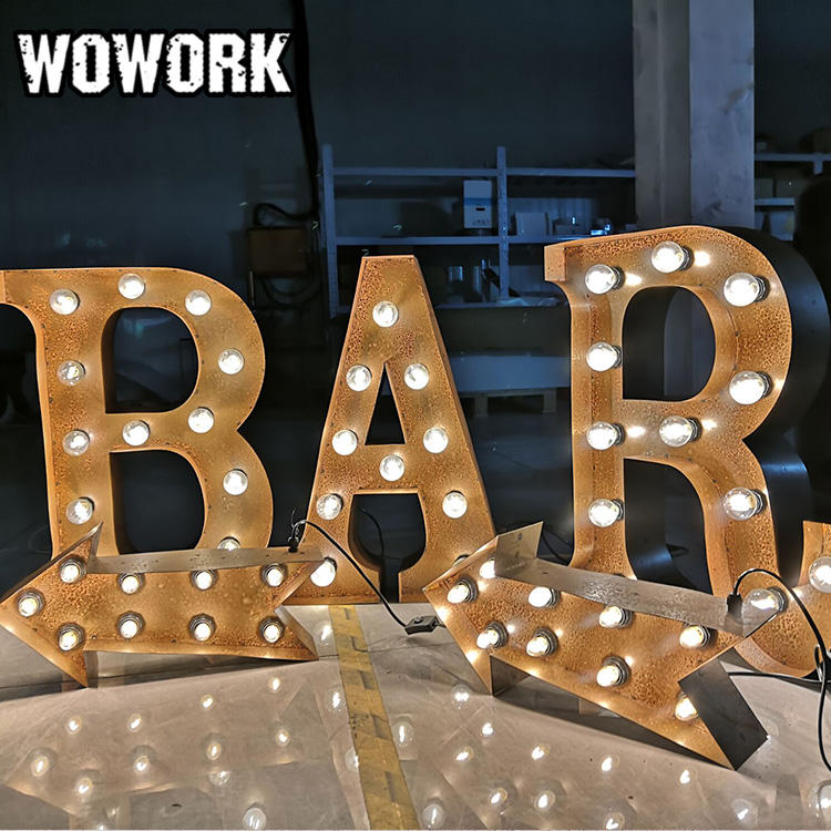 WOWORK carnival joined up BAR lights hanging metal lamp wall decor illuminated letters
