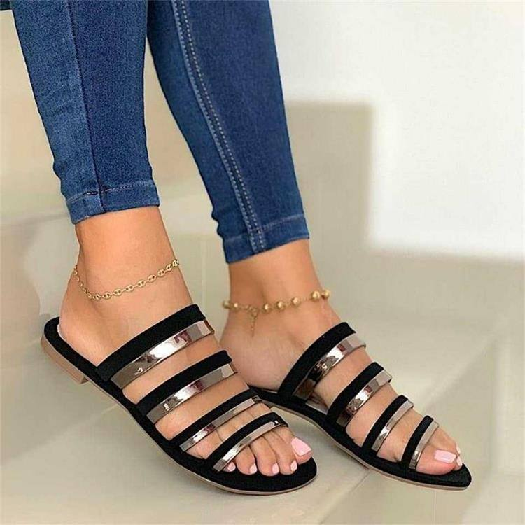 Casual Hollow Metal Decoration Girls Female Flat Slippers 2021
