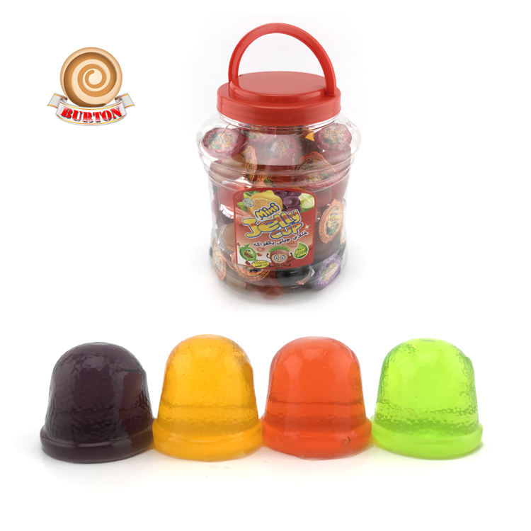 Hot sale in South America mini cup fruit jelly 100pcs in jar