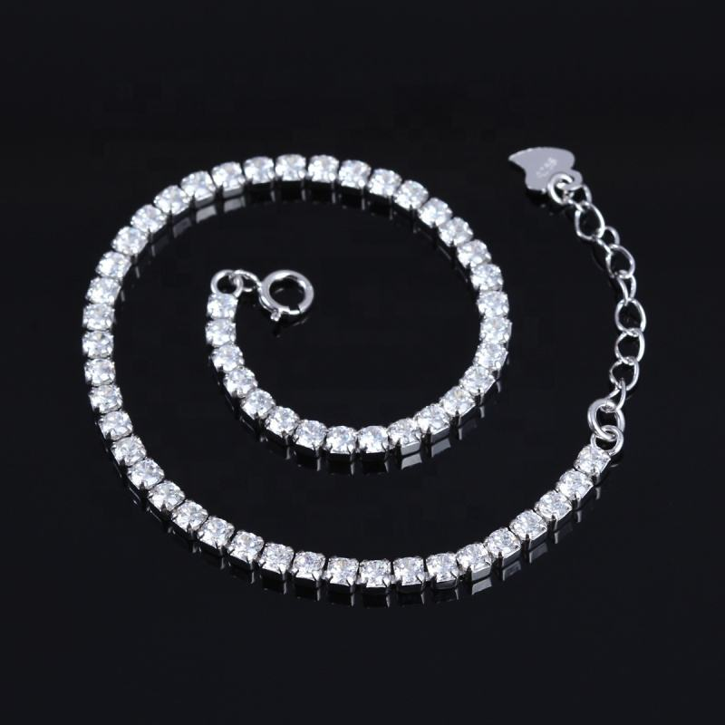 Girl Accessories 925 Sterling Silver Jewelry Stone Chain Bracelet