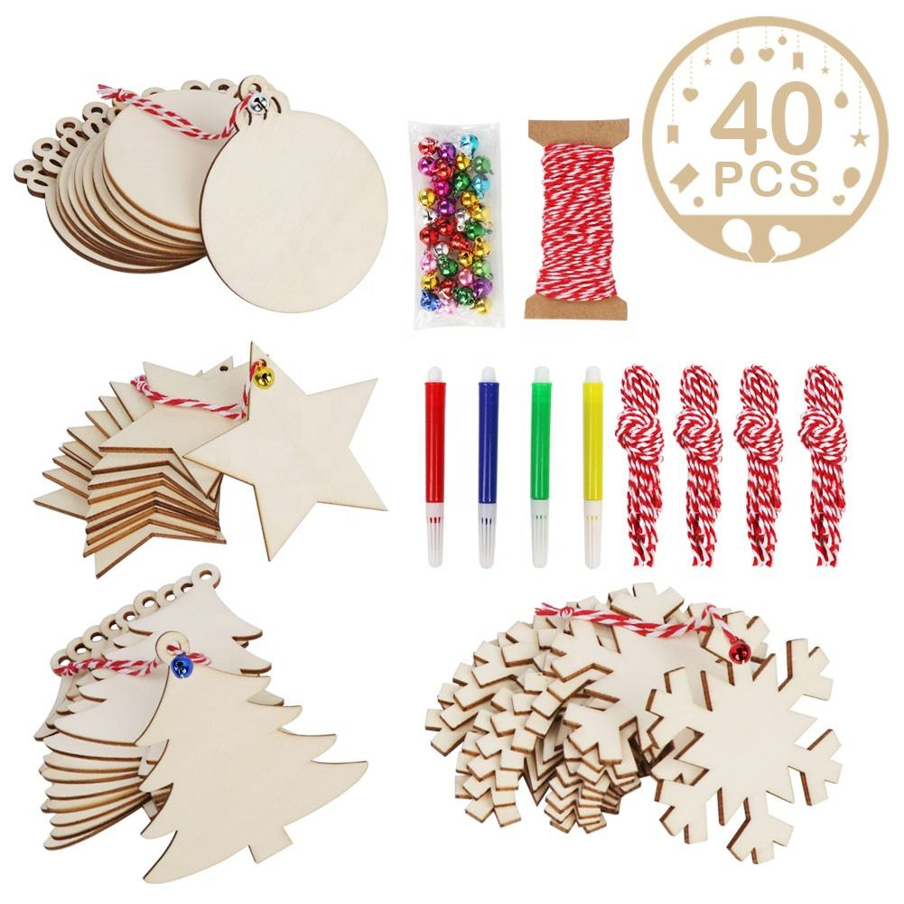 Ourwarm 40 Pcs Christmas Tree Ornaments Custom DIY Christmas Craft Slices Wooden Hanging Baubles