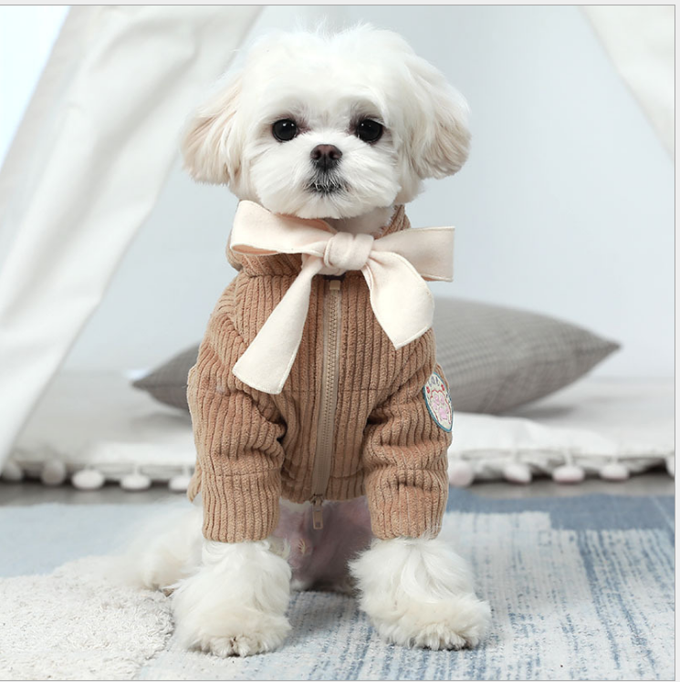 Dog Pet Thicken Fall Winter Coat Dog Warm Apparel Wth Bowknot