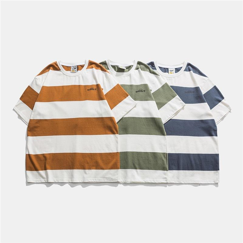 Men's Casual T Shirt With Wide Stripes 100% Cotton Striped T Shirt