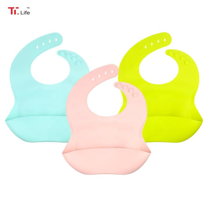 Custom Toddler Feeding Waterproof Silicon Infant Drool Silicone Baby Bib With Crumb Catcher