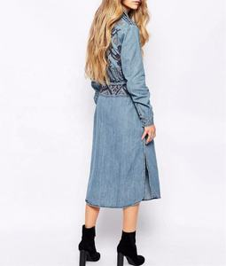 Denim Embroidery Ladies Shirt Dress Spring Autumn Clothes Women Long Style Coat Women Casual plus size midi bodycon dress