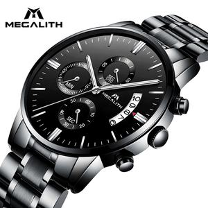 MEGALITH shock resistant Japan movement and battery luxury waterproof date analogue stainless steel strap business quartz watch