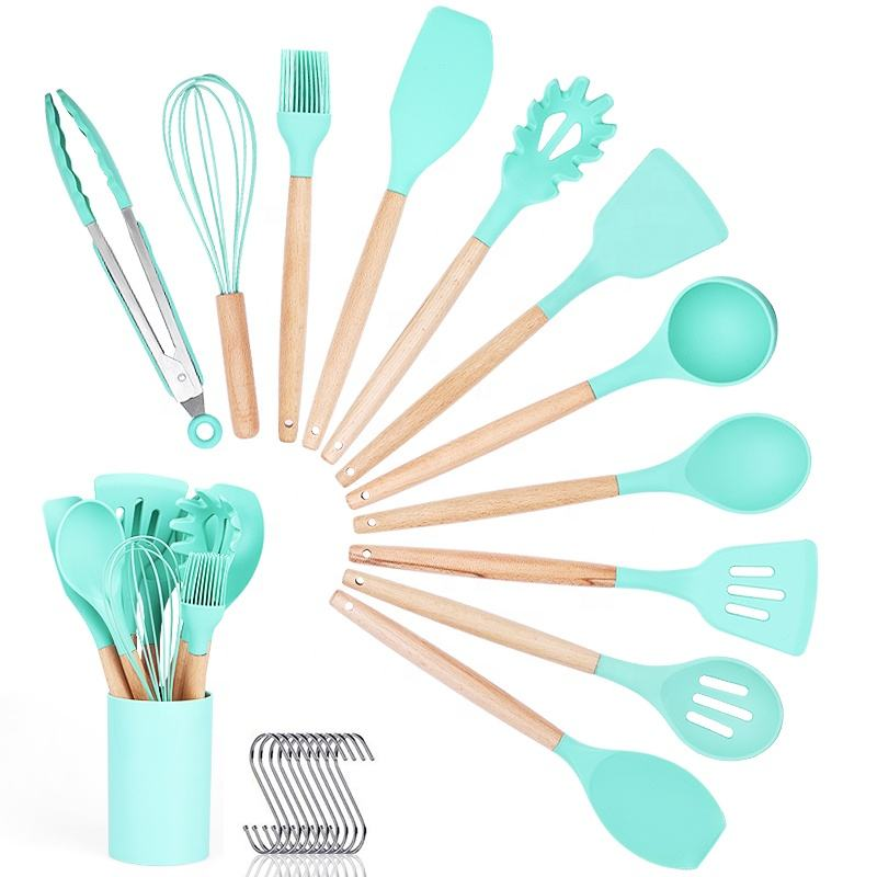 OEM/ODM Wholesale Custom 12 Pcs Heat-resistant Silicone Utensils Set Comfortable Wood Handle Cooking Kitchen Tool