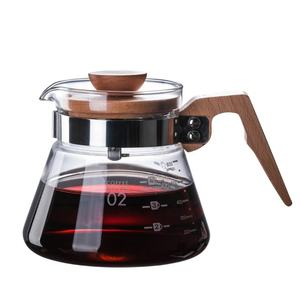 Classic heat resistant Borosilicate Coffee Pot 400ml Glass Coffee Maker Pour Over Coffee Tea pot with Wood Handle