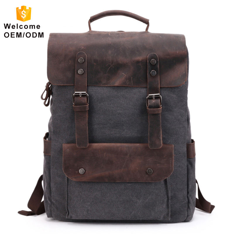 Mens Washed canvas bagpack customize logo tote rucksack retro vintage cotton laptop custom school men canvas backpack for men