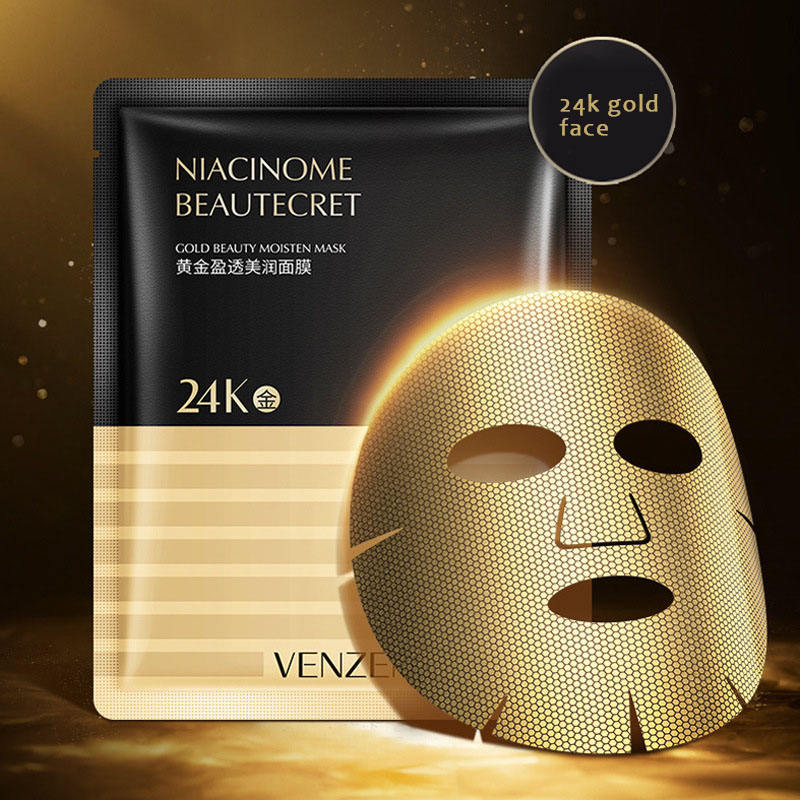 VENZEN Wholesale 24k gold mask Collagen Anti-aging Honeycomb soft carbon double membrane cloth Facial Mask