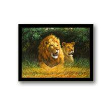 Wholesale stock high quality PET 40*30cm 5D lion picture 3D lenticular painting with black frame for home decoration