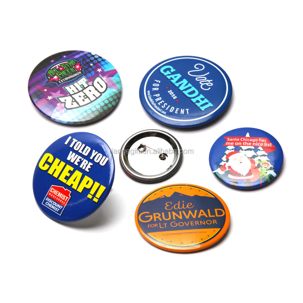 custom sizes promotional logo printing tin button badge