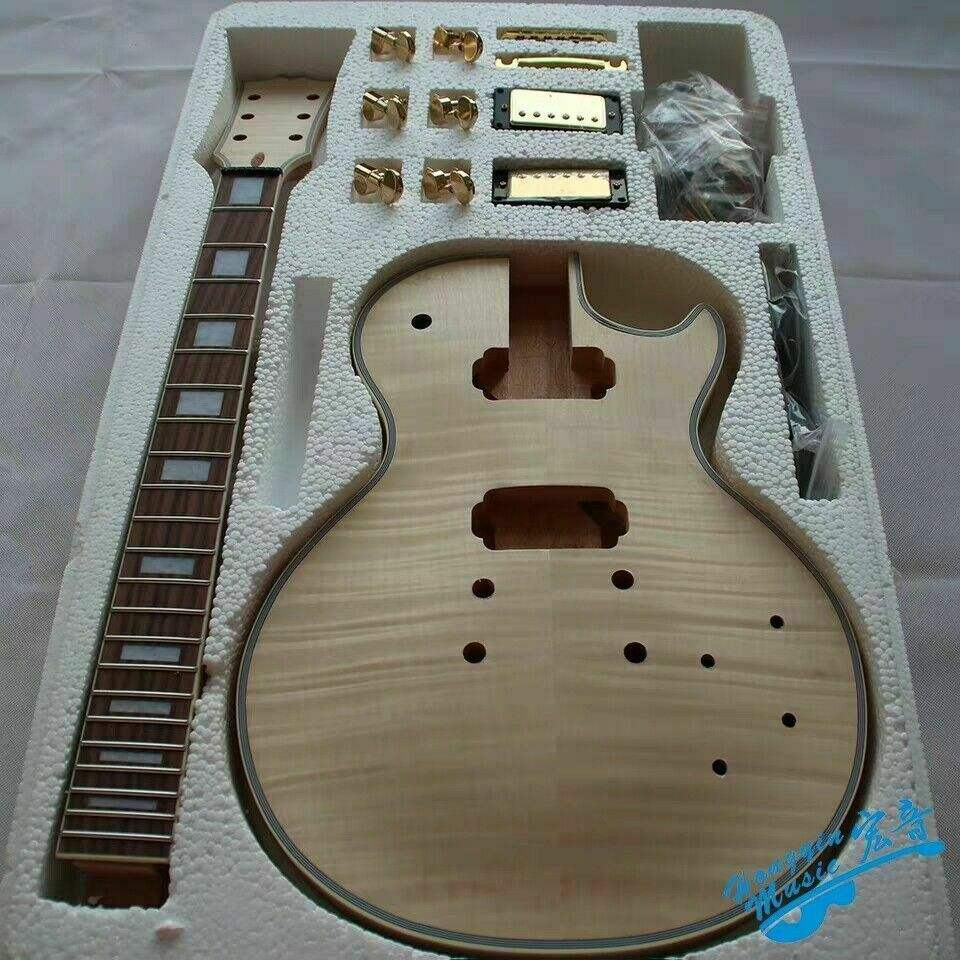 Best 1 Set DIY Guitar Mahogany Body With Neck Unfinished Electric Guitar Kits All Hardware