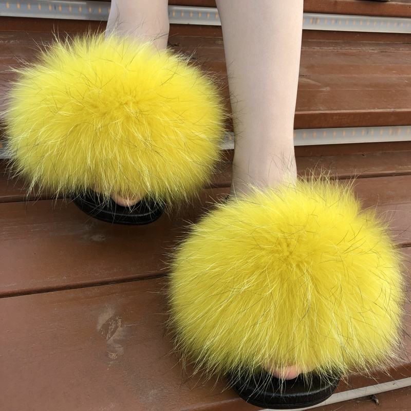 Factory direct sale customer colour popular hot pink slip on fur lined slippers fur platform slippers for women