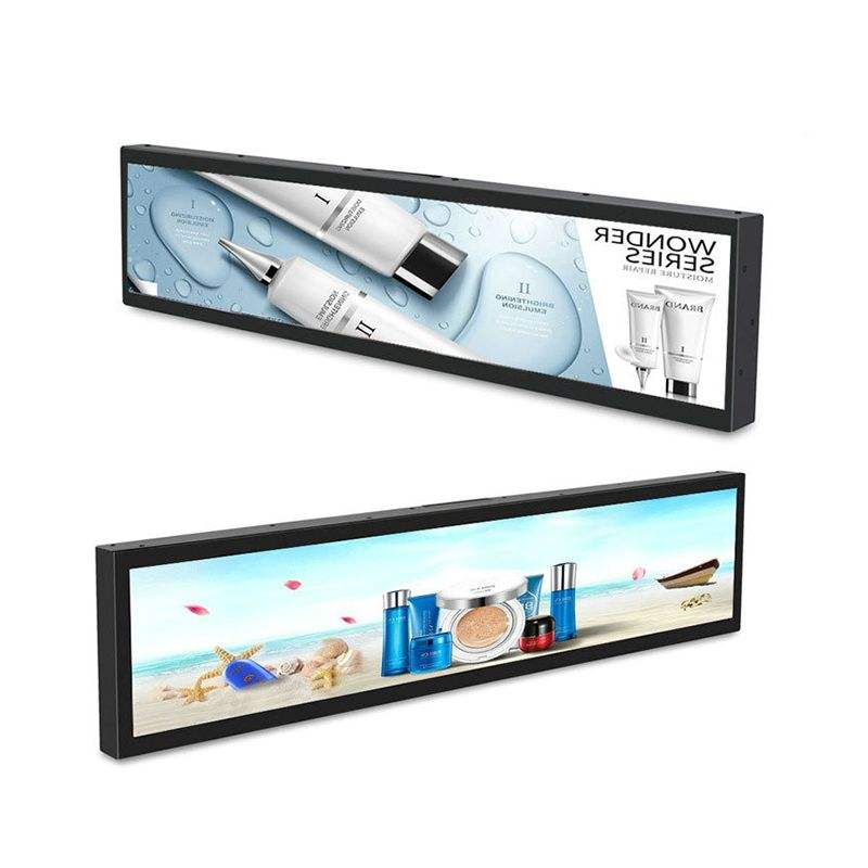 Supermarket shelf edge stretched display bar screen panel displays price tags