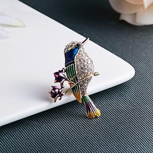 2020 Well Designed Clothing accessories crystal rhinestone vintage bluebird brooch antique hummingbird pin
