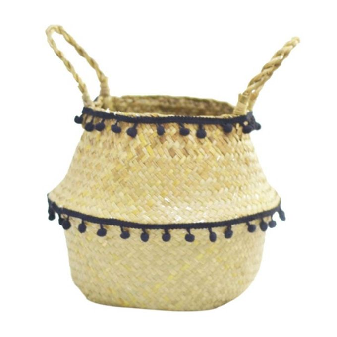 Medium Natural Woven Seagrass Tote Belly Basket For Plant Pot Cover