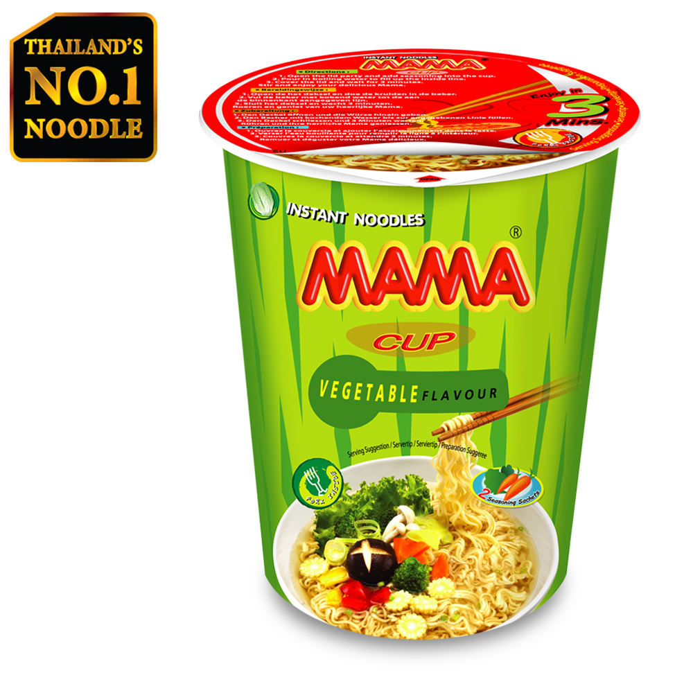 Imported Delicious Mama Brand Cup Instant Noodles Vegetable Flavour 70g