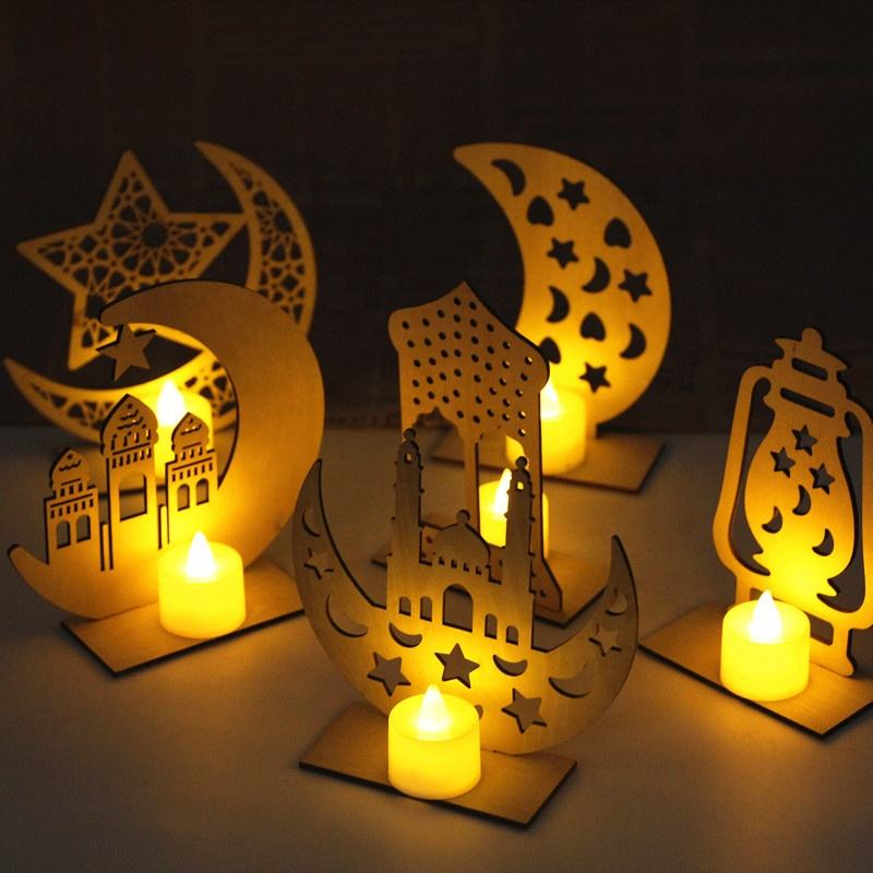 islamic decor gift Led lights ramadan eid wood laser cut decorations wood craft eid decor