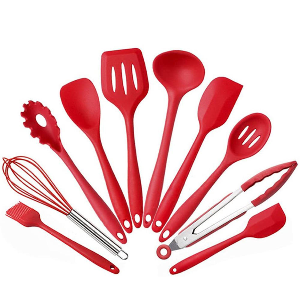 Colorful Silicone Kitchen Utensils 10 pcs Cooking Utensils Kitchen Utensil Set Nonstick Cookware with Spatula Set