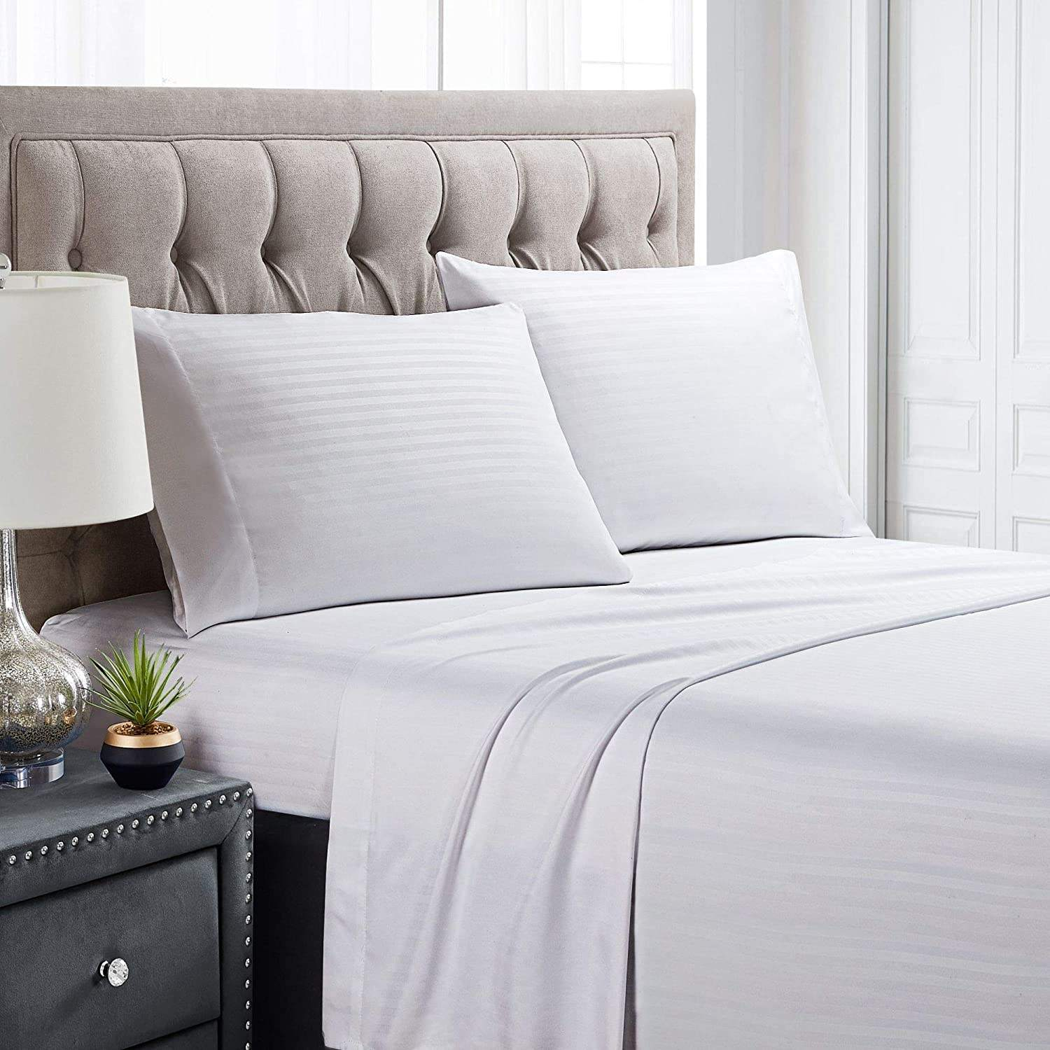 "OEM hotel satin fabric bed sheet 300tc with 1"" stripe for bedding set"