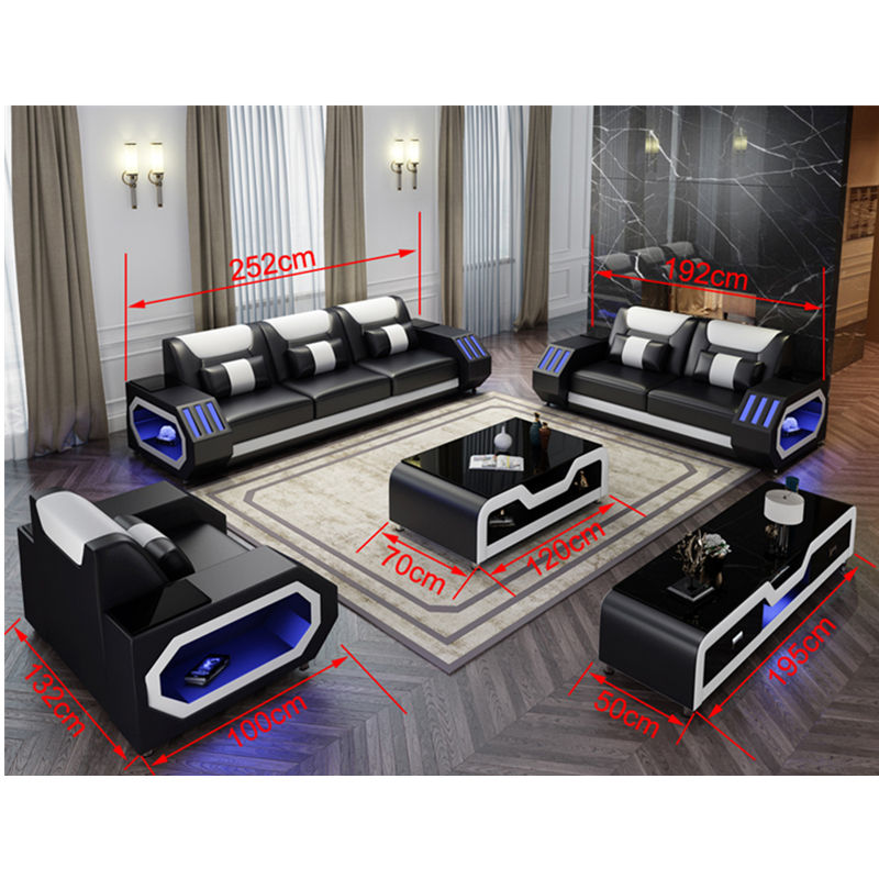 Global hot-selling happy leather sofa with many different colors sofas set 7 seater furniture