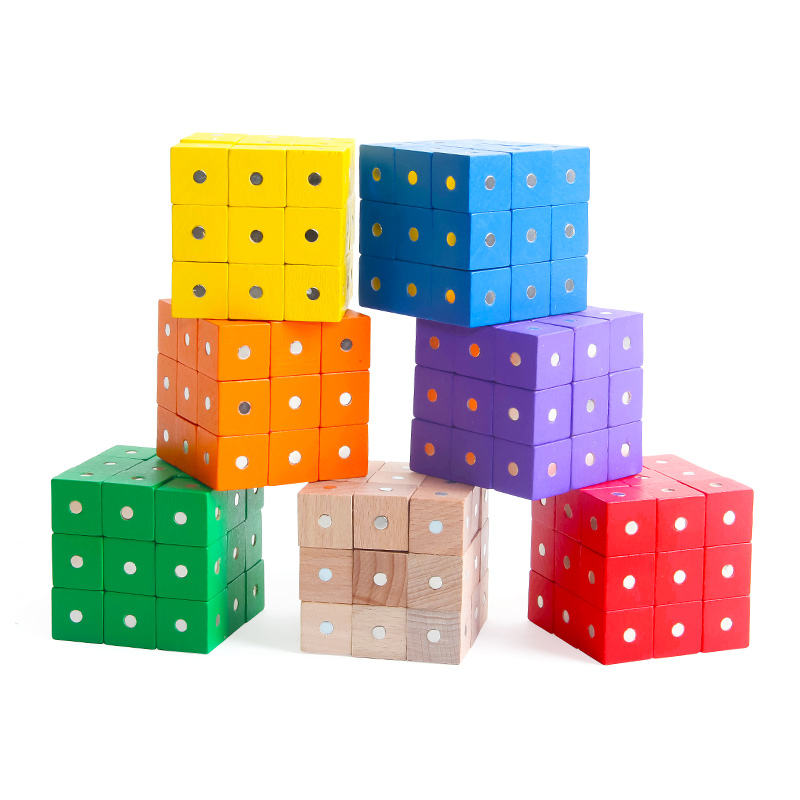 hot sale cube magnet intelligence wooden educational toys DIY Toy Cube Wooden Block