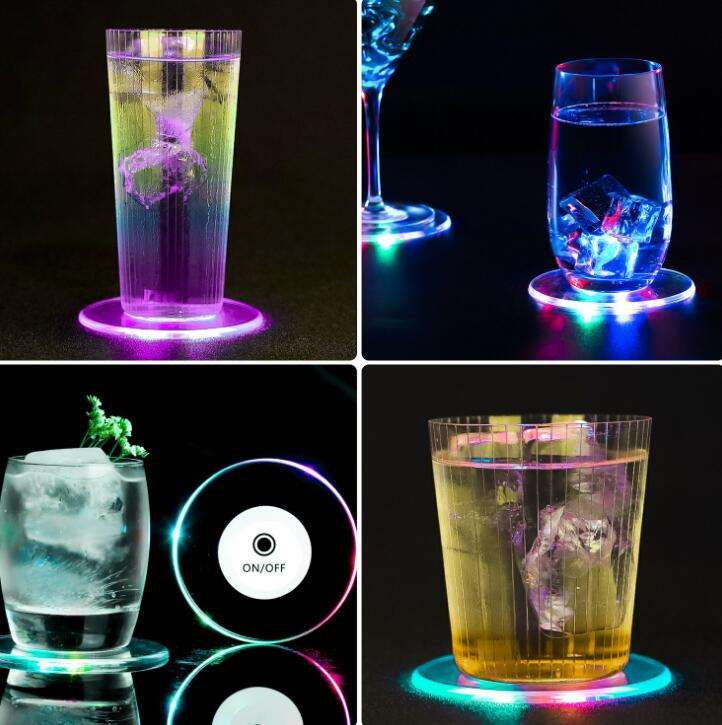 Aangepaste Colorfull Led Verlichting Cup Coaster Led Coaster #$202109